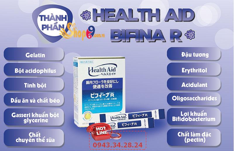 Thành phần Men Vi Sinh Health Aid Bifina