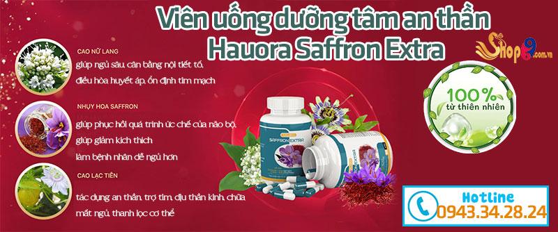 Thành phần viên uống dưỡng tâm an thần Hauora Saffron Extra